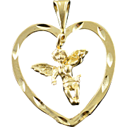 14K Cherub Angel Dangle Heart Outline Charm/Pendant Yellow Gold