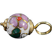 10K Vintage Asian Cloisonne Floral Bead Charm/Pendant Yellow Gold