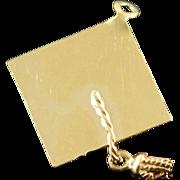 14K Graduation Diploma Engraveable Graduate Charm/Pendant Yellow Gold