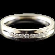 10K 0.20 CTW Diamond Inset Wedding Band Ring Size 5.75 White Gold [QPQQ]