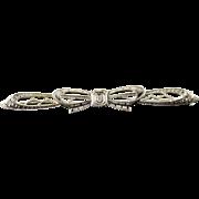 10K Diamond Art Deco Ribbon Box Bar Pin/Brooch White Gold