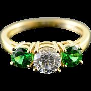 14K White & Green CZ Travel 3 Stone Engagement Ring Size 8 Yellow Gold