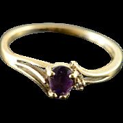 10K 0.26 CTW Amethyst Diamond Ring Size 7.75 Yellow Gold