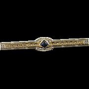 10K 0.15 CT Sapphire Art Deco Filigree Bar Pin/Brooch White Gold