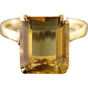10K 6 CT Citrine Solitaire Ring Size 5.25 Yellow Gold