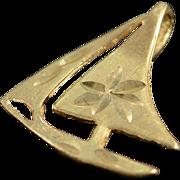 14K Diamond Cut Sailboat Charm/Pendant Yellow Gold