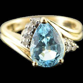 14K 3.10 CTW Blue Topaz Diamond Bypass Ring Size 6.5 Yellow Gold