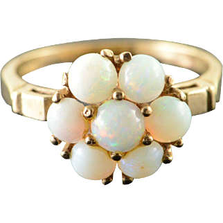 10K 1.00 CTW Opal Cluster Ring Size 5.75 Yellow Gold