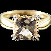 14K 2.80 CTW Morganite Diamond Ring Size 8 Yellow Gold