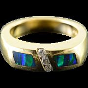 14K 0.10 CTW Opal Diamond Inset Wedding Band Ring Size 7 Yellow Gold