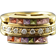 14K 0.75 CTW Multicolor Gemstone & Diamond 3 Row Classic Ring Size 3.5 Yellow Gold