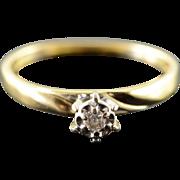 14K Genuine Diamond Engagement Ring Size 5.25 Yellow Gold