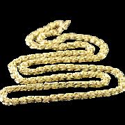 "14K Heavy 3.2mm Heavy Fancy Necklace 24"" Yellow Gold  [QPQQ]"