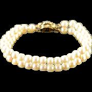 "14K Stunning 6mm Opal 5mm Dual Strand Pearl Clasp Bracelet 7.75"" Yellow Gold"