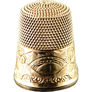 10K Engraved Town Scene Sewing Thimble  Yellow Gold