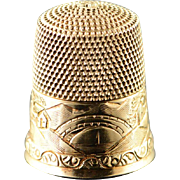 10K Engraved Town Scene Sewing Thimble  Yellow Gold  [QPQQ]