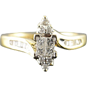 14K 0.50 CTW Diamond Invisible Set Bypass Engagement Ring Size 5 Yellow Gold [QPQQ]