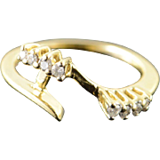 14K 0.12 CTW Diamond Bypass Engagement Wrap Around Wedding Band Ring Size 5.25 Yellow Gold