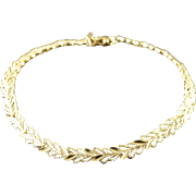 "14K Filigree Leaf Link Bracelet 7"" Yellow Gold"