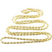 """14K HEAVY 3.1mm Twist Rope Necklace Necklace 30"""" Yellow Gold"""