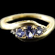 14K 0.30 CTW Tanzanite Diamond Ring Size 5.25 Yellow Gold