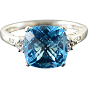 14K 3.55 CTW Blue Topaz Diamond Ring Size 8 White Gold