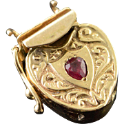 14K 0.20 CT Ruby Victorian Heart Puffy Slide Bracelet Clasp Charm/Pendant Yellow Gold