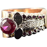 Platinum/14K 1.43 CTW Art Deco Ruby* Diamond Ring Size 6.5 Rose Gold