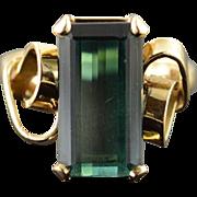 10K 3.87 CT Green Tourmaline Ring Size 6.25 Yellow Gold