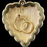 14K 1960's Puffy Scallop Engagement Wedding Anniversary Heart Charm/Pendant Yellow Gold