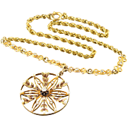"""9K Stunning Victorian 0.10 CTW Diamond Seed Pearl Circle Necklace 15.25"""" Yellow Gold"""