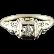 18K Vintage 0.25 CT Diamond Filigree Engagement Ring Size 6.5 White Gold