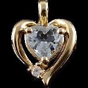 10K 0.75 CTW Blue White CZ Heart Pendant Yellow Gold  [QPQQ]