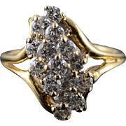 14K 0.60 CTW Diamond Cluster Ring Size 3.5 Yellow Gold