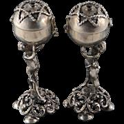 800 Fine Silver 18th Century Russian Judaica Spice / Salt & Pepper - Proof Mark