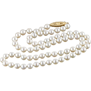 "14K 5mm Pearl Strand Necklace 17"" Yellow Gold"