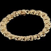 "14K Heavy Link Heart Charm Bracelet 7"" Yellow Gold"