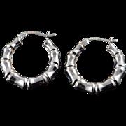 14K Hollow Hoop Bamboo Earrings White Gold