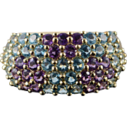 14K 2.75 CTW Blue Topaz Amethyst Pave Band Ring Size 9 Yellow Gold