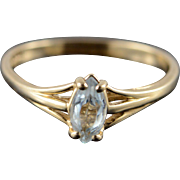 14K 0.33 CT Blue Topaz Marquise Solitaire Ring Size 9 Yellow Gold