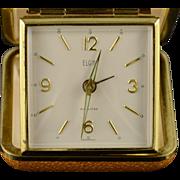 Gold Plated Vintage Elgin Travel Mechanical Alarm Clock
