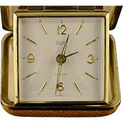 Gold Plated Vintage Elgin Travel Mechanical Alarm Clock    [QPQQ]