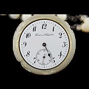 Base Metal 48mm Vintage Tavannes Watch Co Mother of Pearl Pocket Watch & Chain