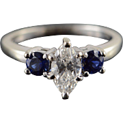 14K 0.50 CT Marquise Diamond 0.50 CTW Sapphire 3 Stone Engagement Ring Size 5.25 White Gold