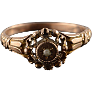10K Vintage Victorian Setting for Repair Seed Pearl Halo Starburst Ring Size 7.75 Rose Gold