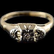 10K Vintage Genuine Diamond Engagement Ring Size 5.25 Yellow Gold