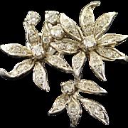 14K 0.70 CTW Diamond 3 Flower Cluster Enhancer Pendant White Gold