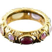18K Purple Moonstone Bezel Filigree Ring Size 8 Yellow Gold