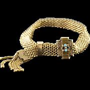 "14K Victorian Seed Pearl Black Onyx Mesh Belt Buckle Tassel Bracelet 8.75"" Adjustable Yellow Gold"