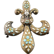 14K White Blue Fleur De Lis Enamel Victorian Watch Fob Hanger Pin/Brooch Yellow Gold